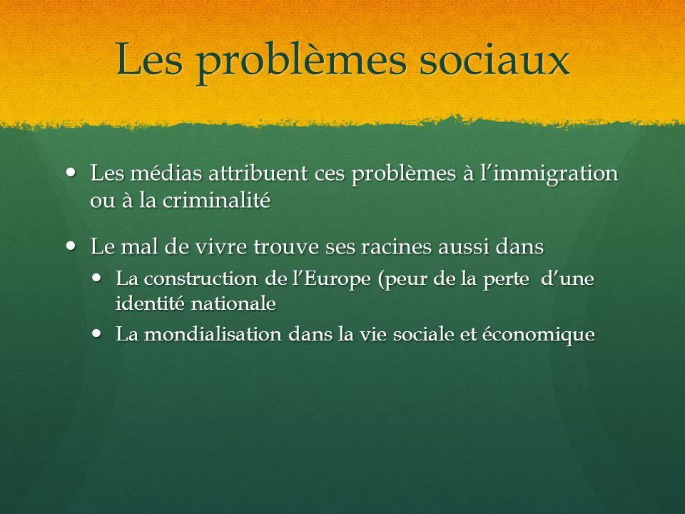Les problèmes sociaux Les médias attribuent ces problèmes à l'immigration ou à la criminalité. Le mal de vivre trouve ses racines aussi dans.