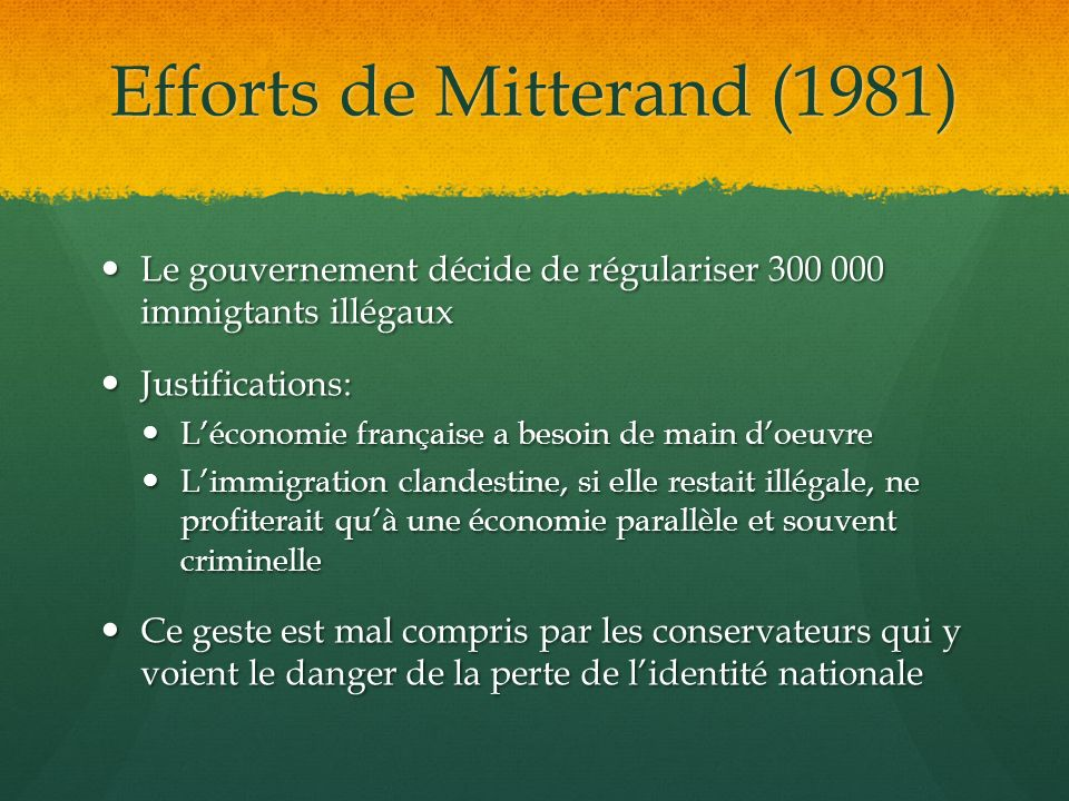 Efforts de Mitterand (1981)