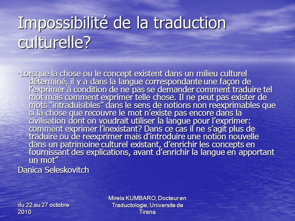 Impossibilité de la traduction culturelle