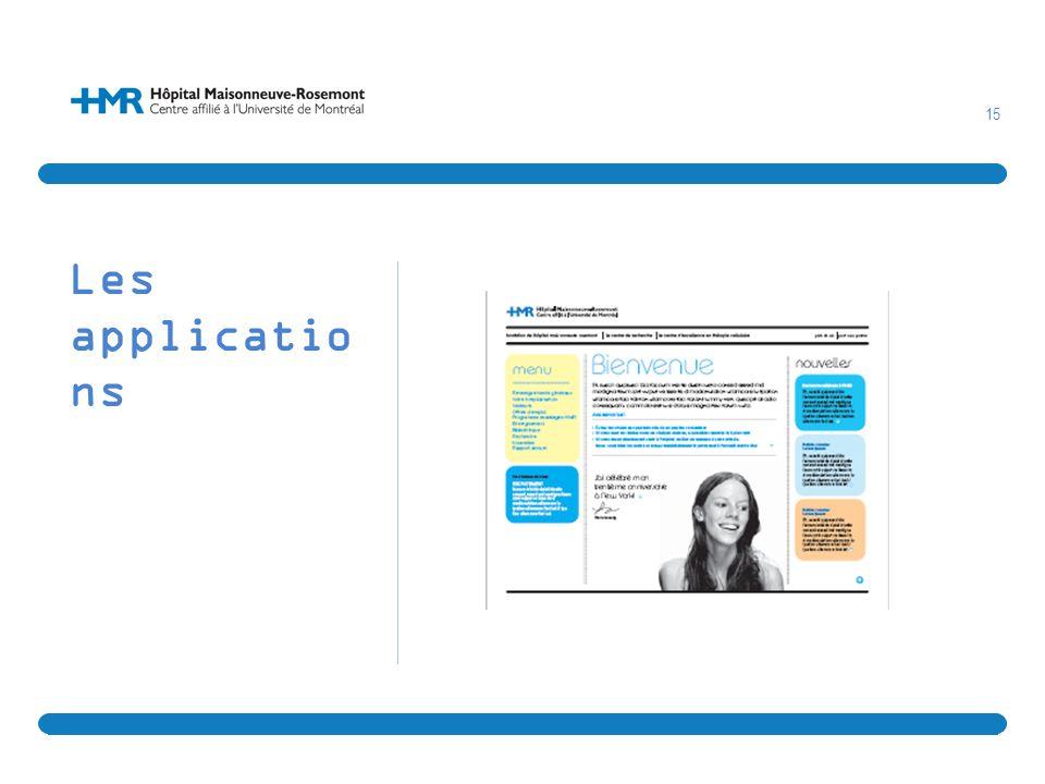 Les applications Exemple de la nouvelle facture visuel du prochain site Internet de l'HMR.