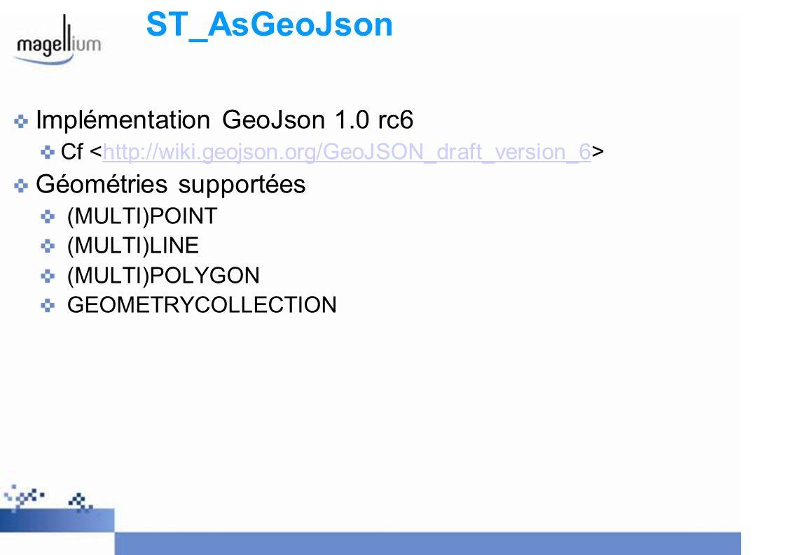 ST_AsGeoJson Implémentation GeoJson 1.0 rc6 Géométries supportées