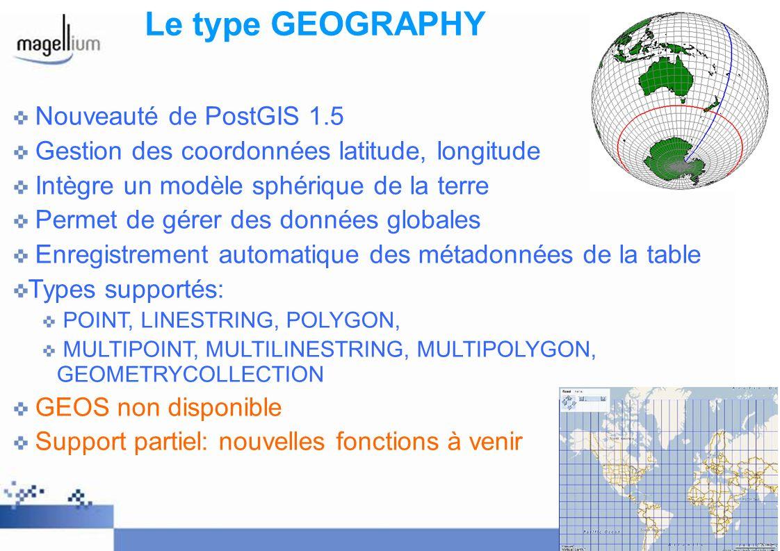 Le type GEOGRAPHY Nouveauté de PostGIS 1.5