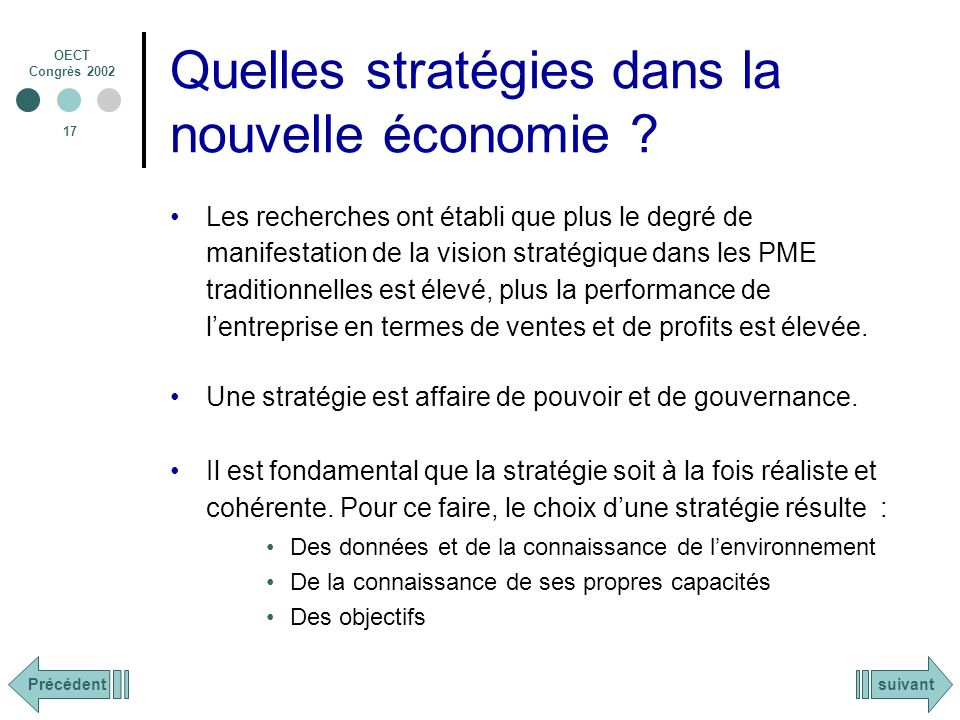 Quelles stratégies dans la nouvelle économie
