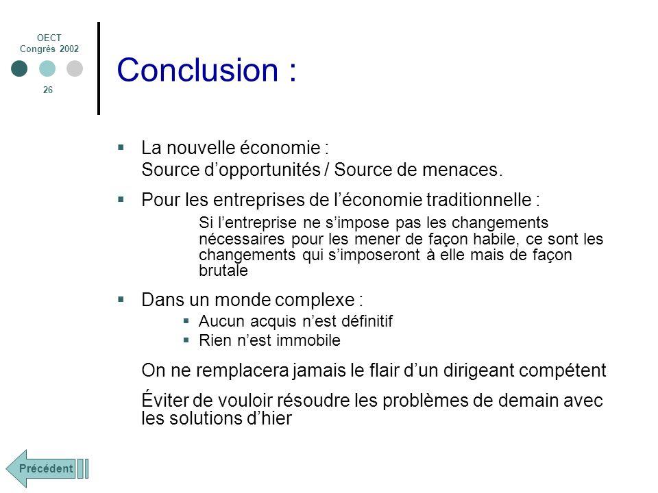 Conclusion : La nouvelle économie :