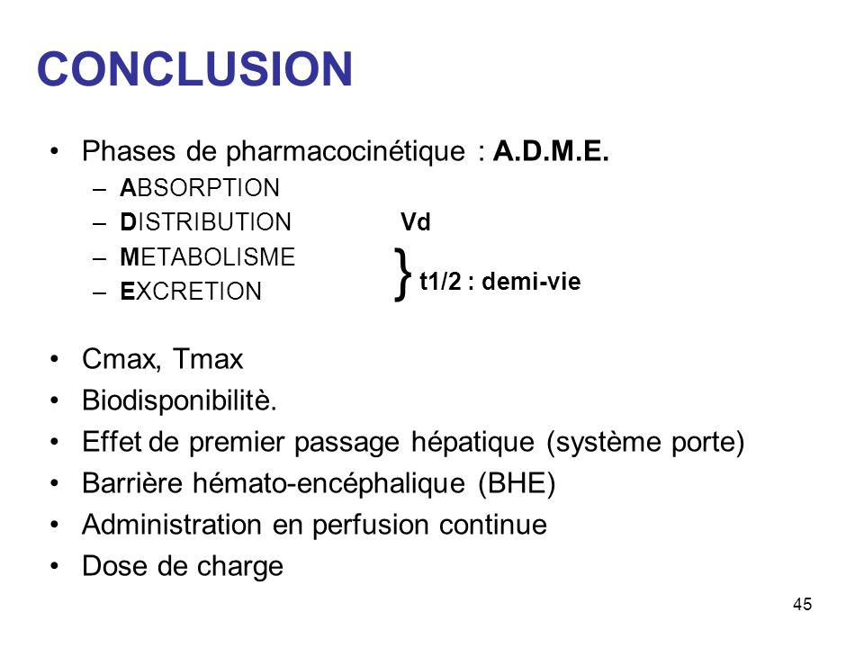 } t1/2 : demi-vie CONCLUSION Phases de pharmacocinétique : A.D.M.E.