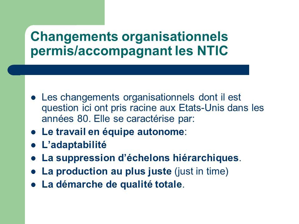 Changements organisationnels permis/accompagnant les NTIC