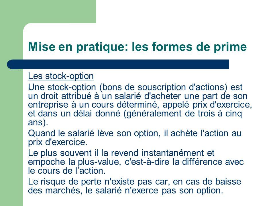 Mise en pratique: les formes de prime
