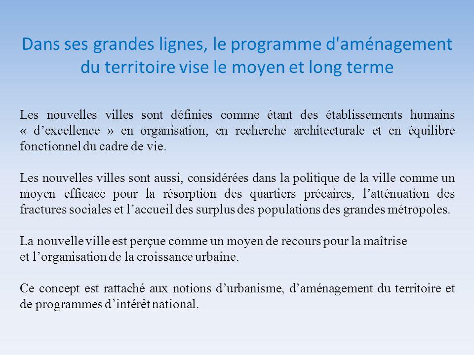 Dans ses grandes lignes, le programme d aménagement du territoire vise le moyen et long terme