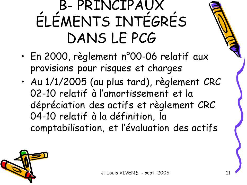 B- PRINCIPAUX ÉLÉMENTS INTÉGRÉS DANS LE PCG