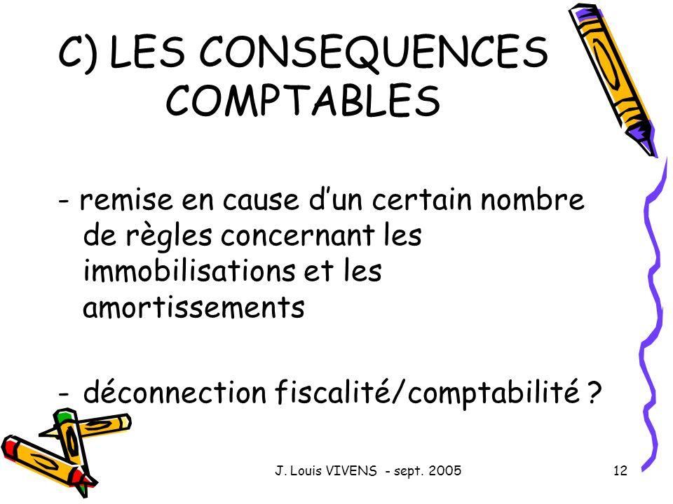 C) LES CONSEQUENCES COMPTABLES