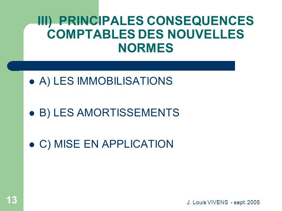 III) PRINCIPALES CONSEQUENCES COMPTABLES DES NOUVELLES NORMES