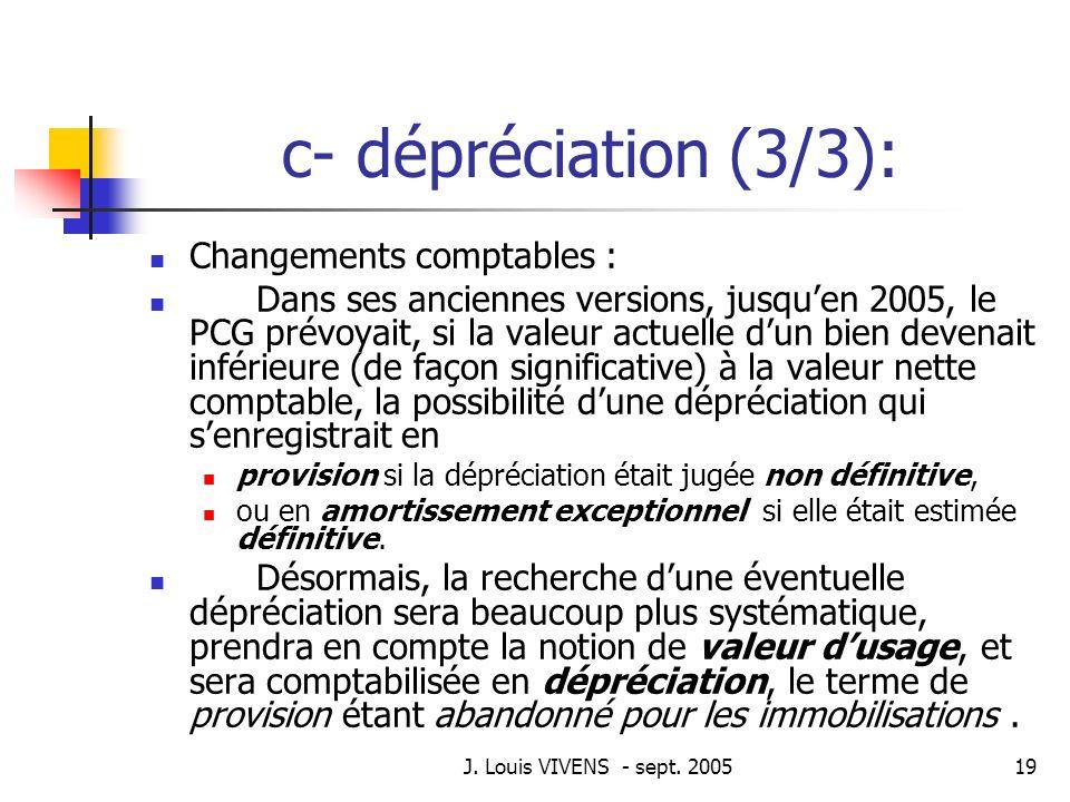 c- dépréciation (3/3): Changements comptables :
