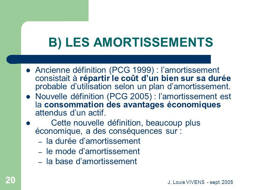 B) LES AMORTISSEMENTS