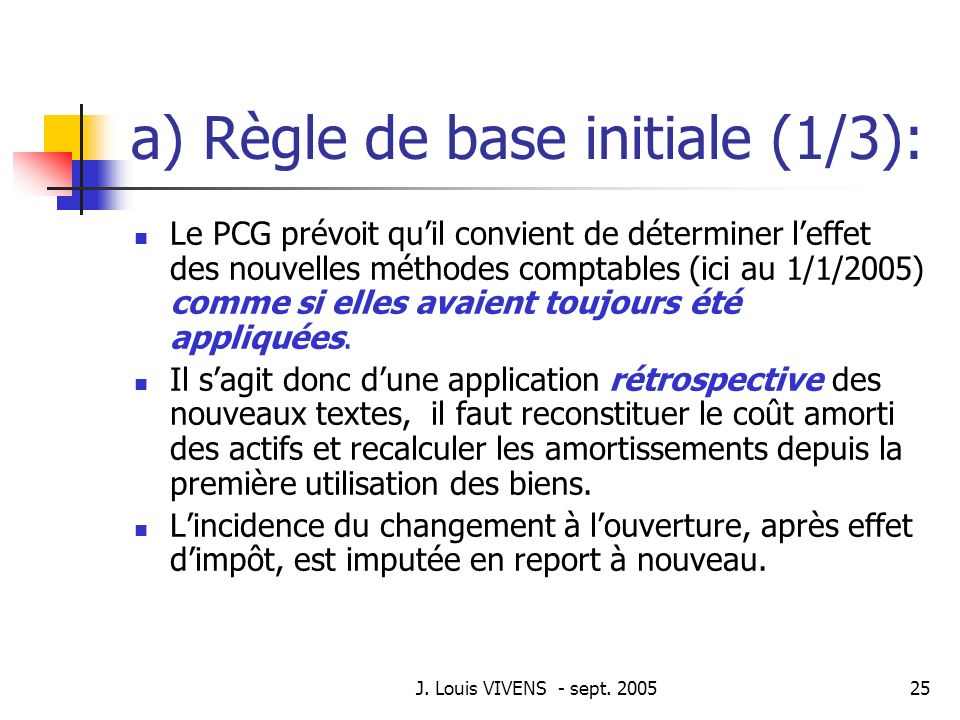 a) Règle de base initiale (1/3):