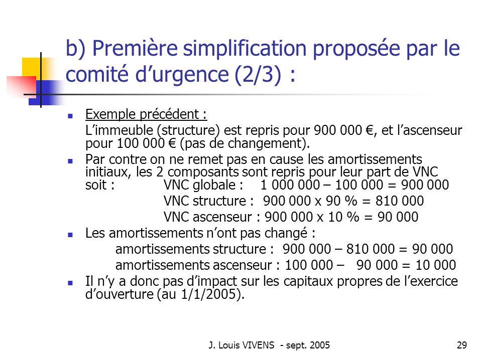 b) Première simplification proposée par le comité d'urgence (2/3) :