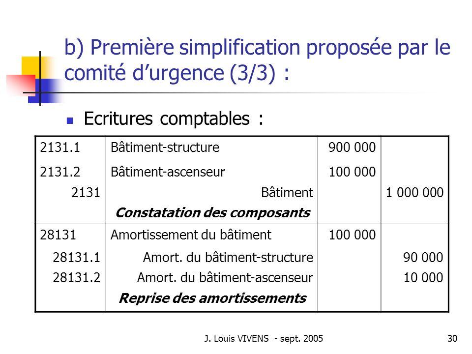 b) Première simplification proposée par le comité d'urgence (3/3) :