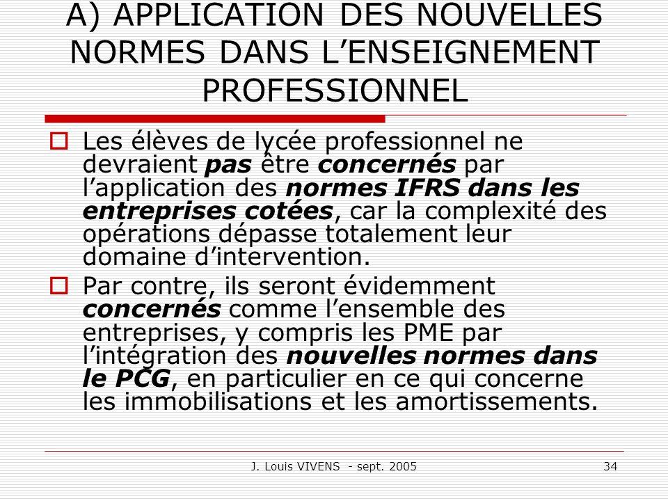 A) APPLICATION DES NOUVELLES NORMES DANS L'ENSEIGNEMENT PROFESSIONNEL