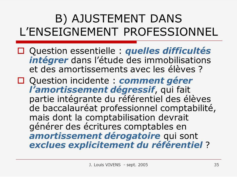 B) AJUSTEMENT DANS L'ENSEIGNEMENT PROFESSIONNEL