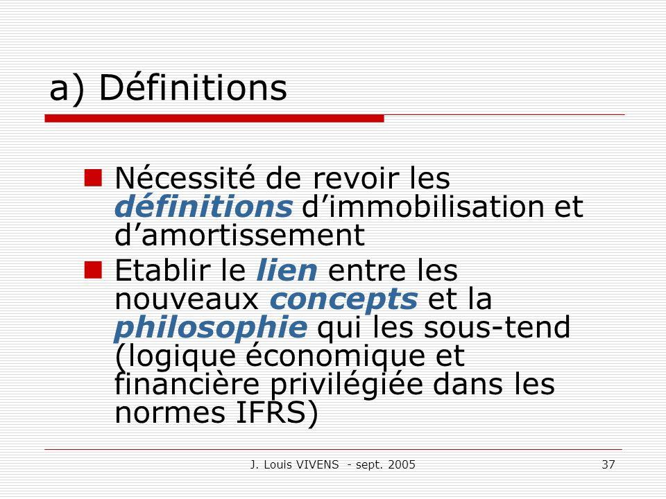 a) Définitions Nécessité de revoir les définitions d'immobilisation et d'amortissement.