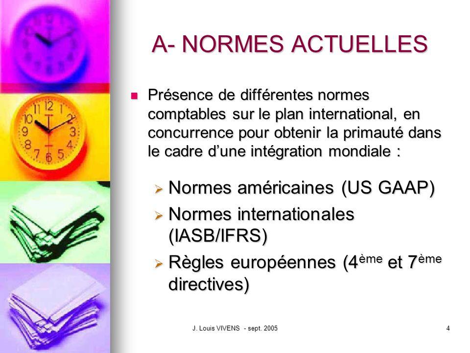 A- NORMES ACTUELLES Normes américaines (US GAAP)