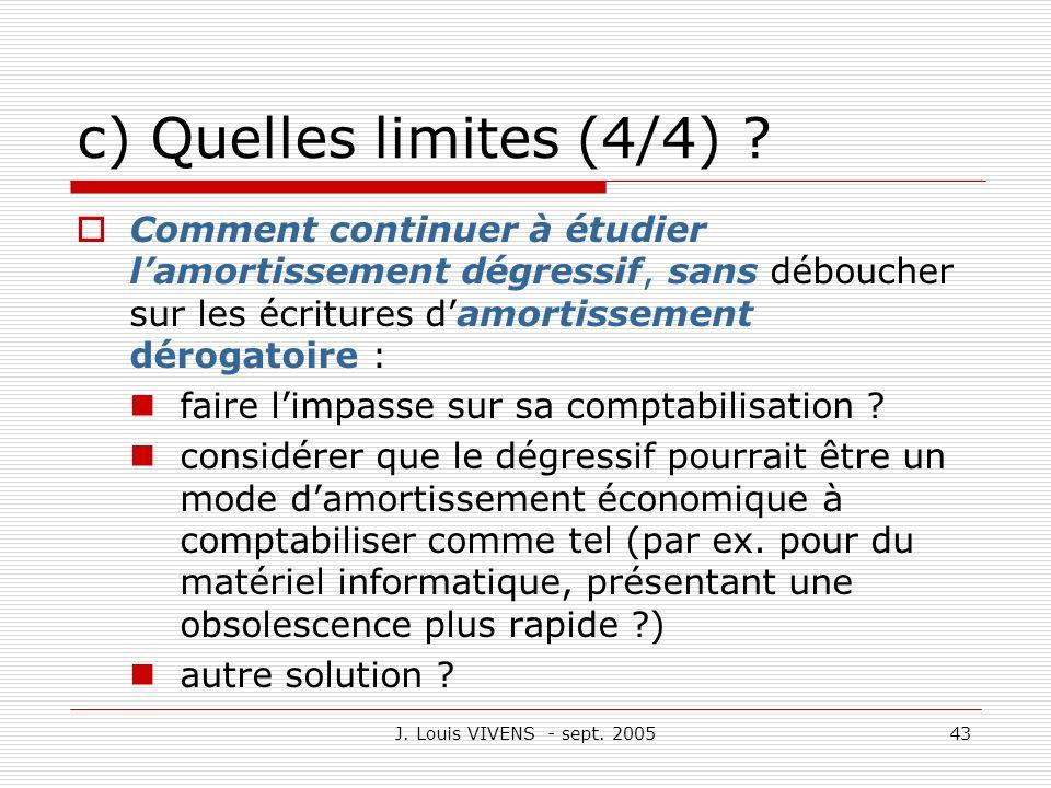 c) Quelles limites (4/4) Comment continuer à étudier l'amortissement dégressif, sans déboucher sur les écritures d'amortissement dérogatoire :