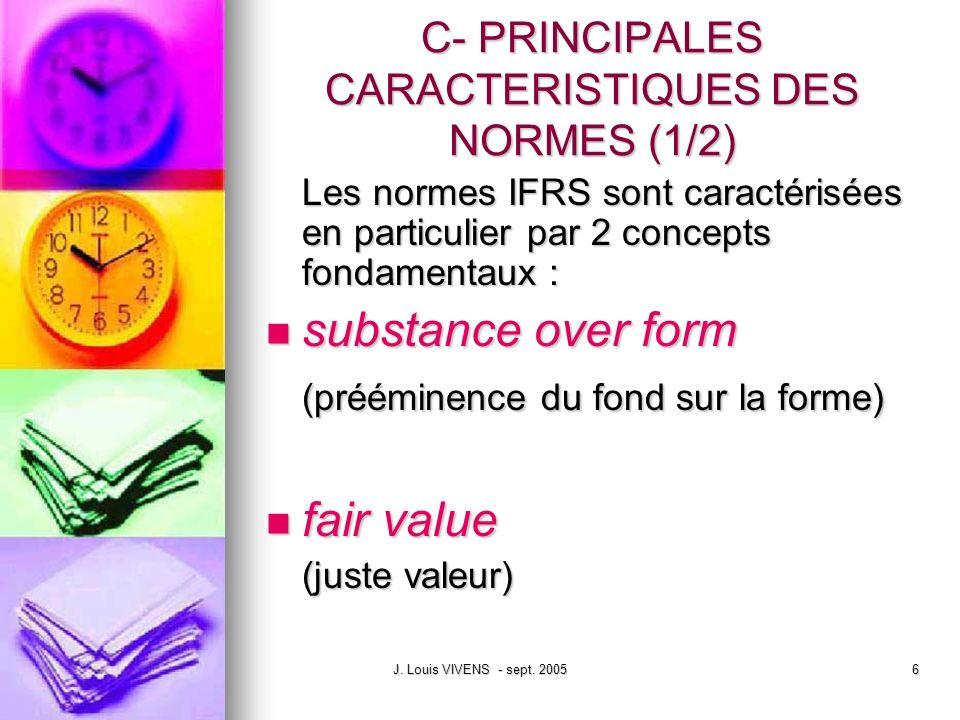 C- PRINCIPALES CARACTERISTIQUES DES NORMES (1/2)