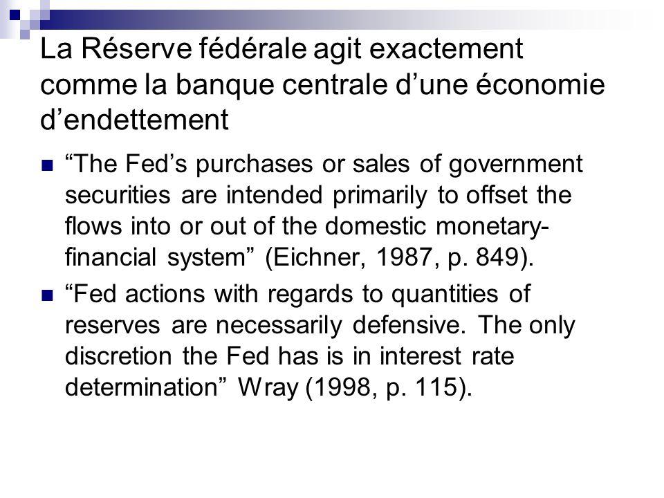 La Réserve fédérale agit exactement comme la banque centrale d'une économie d'endettement