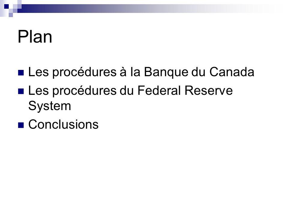 Plan Les procédures à la Banque du Canada