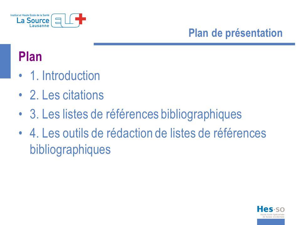 3. Les listes de références bibliographiques