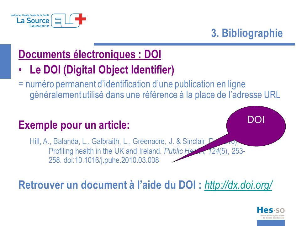 Documents électroniques : DOI Le DOI (Digital Object Identifier)