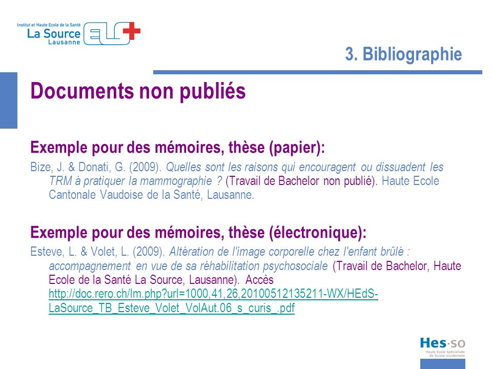 Documents non publiés 3. Bibliographie
