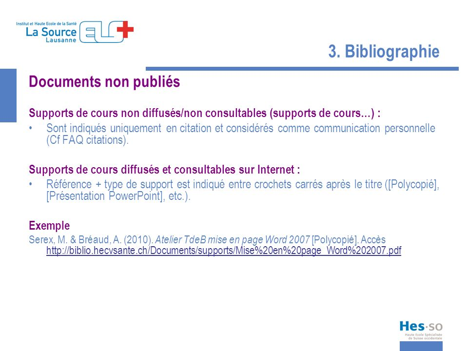 3. Bibliographie Documents non publiés