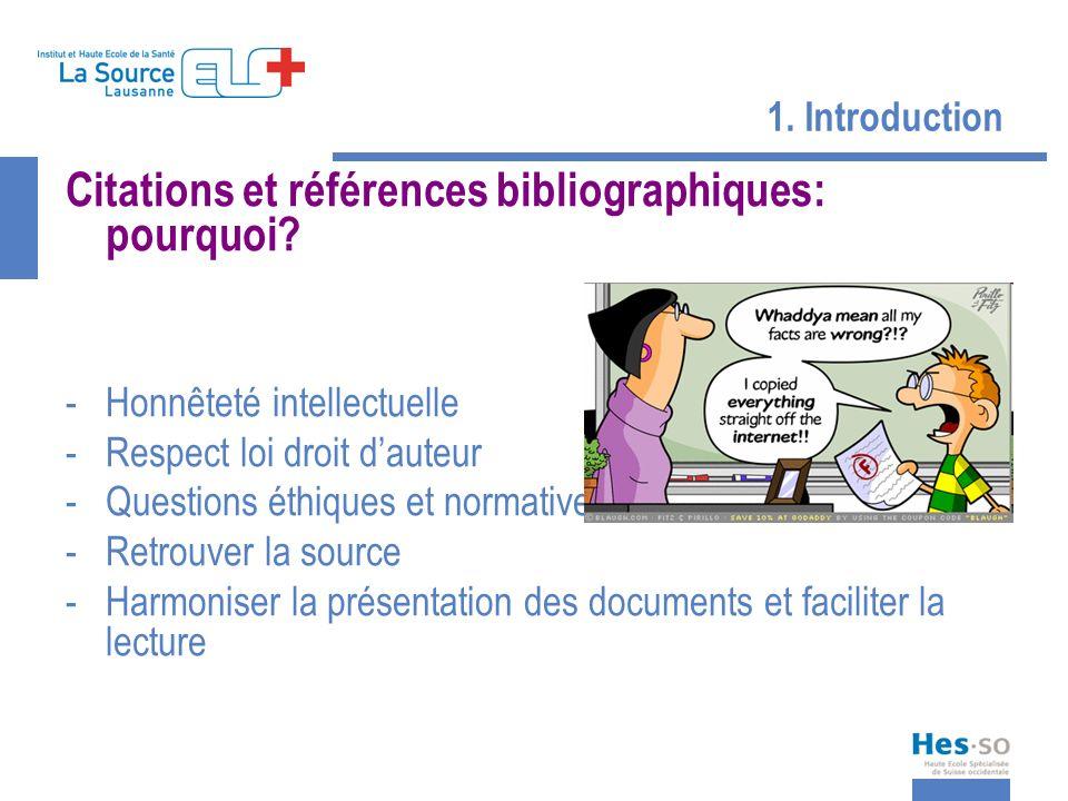 Citations et références bibliographiques: pourquoi