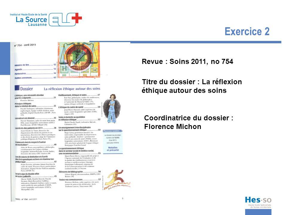 Exercice 2 Revue : Soins 2011, no 754