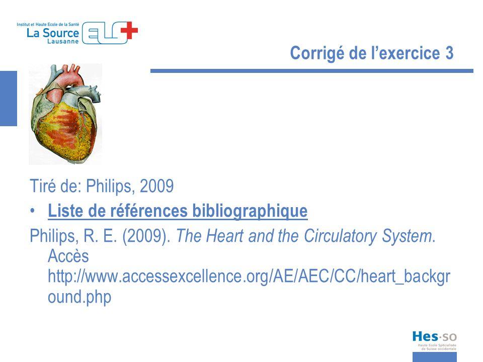 Corrigé de l'exercice 3 Tiré de: Philips, 2009. Liste de références bibliographique.