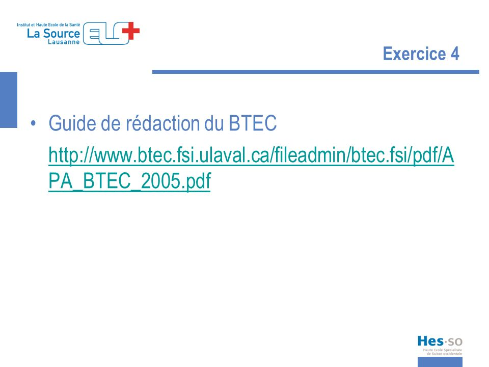 Guide de rédaction du BTEC