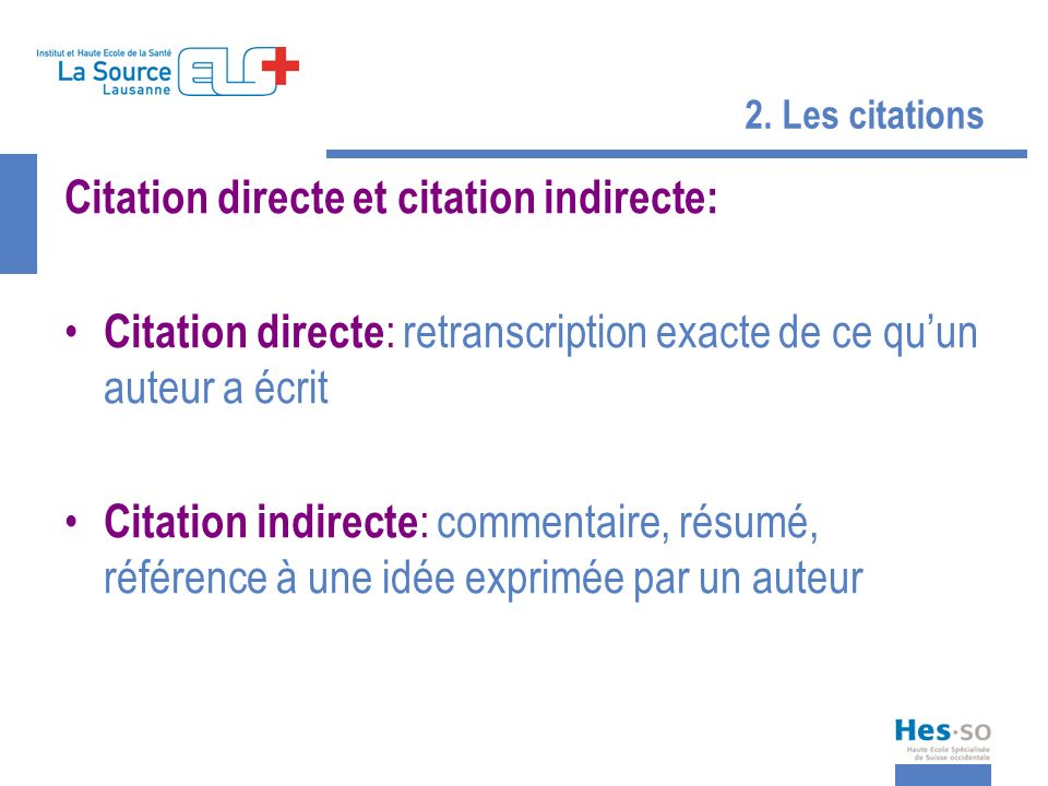 Citation directe et citation indirecte:
