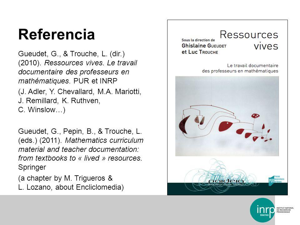 Referencia Gueudet, G., & Trouche, L. (dir.) (2010). Ressources vives. Le travail documentaire des professeurs en mathématiques. PUR et INRP.