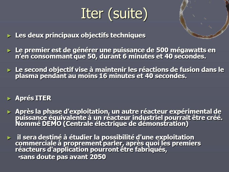 Iter (suite) Les deux principaux objectifs techniques