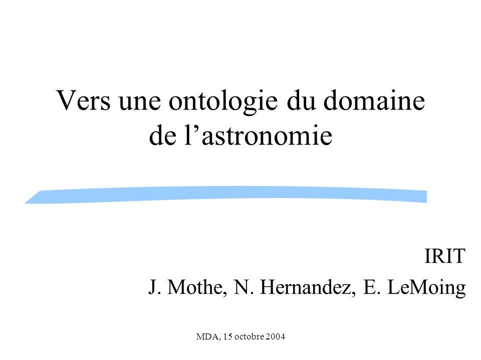 Vers une ontologie du domaine de l'astronomie