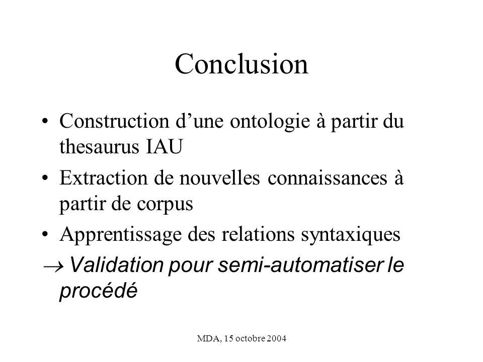 Conclusion Construction d'une ontologie à partir du thesaurus IAU