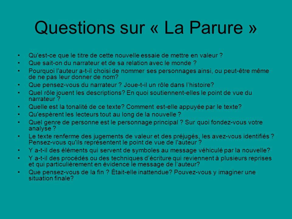 Questions sur « La Parure »