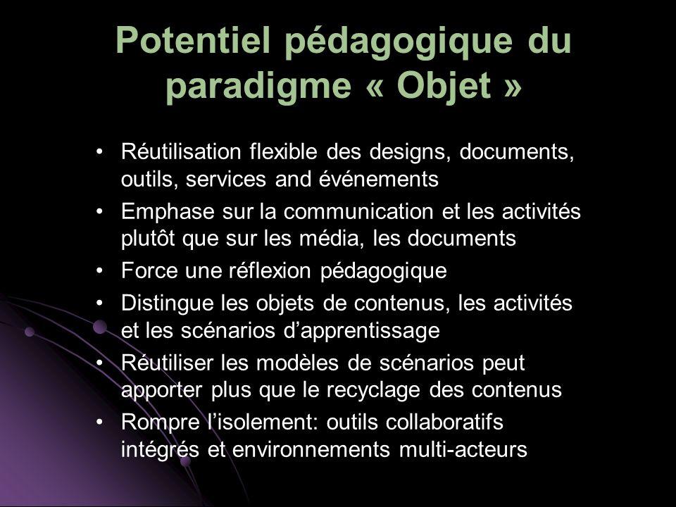 Potentiel pédagogique du paradigme « Objet »