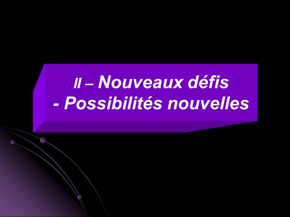 - Possibilités nouvelles