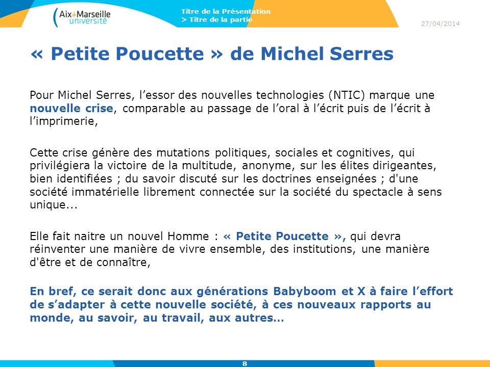« Petite Poucette » de Michel Serres