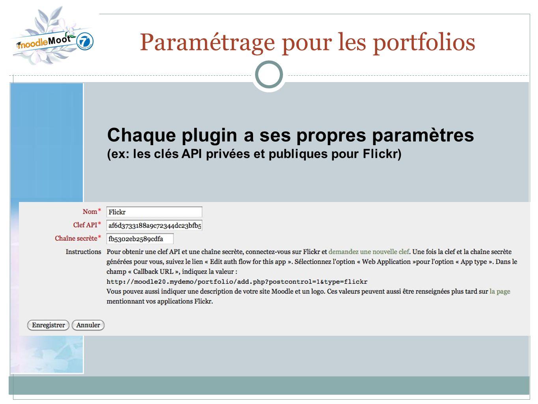 Paramétrage pour les portfolios