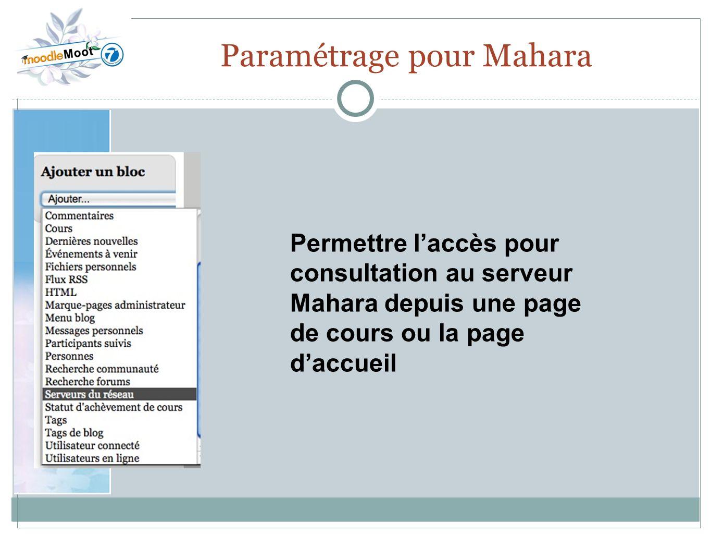 Paramétrage pour Mahara