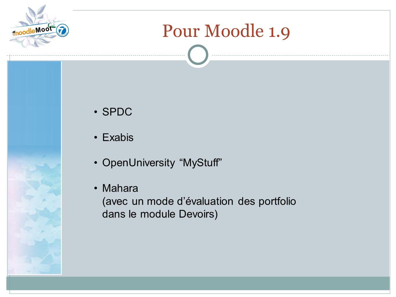 Pour Moodle 1.9 SPDC Exabis OpenUniversity MyStuff