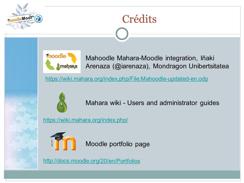 22.0 Crédits. Mahoodle Mahara-Moodle integration, Iñaki Arenaza (@iarenaza), Mondragon Unibertsitatea.