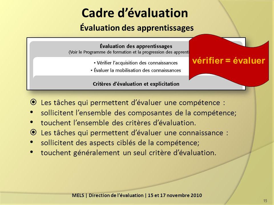 Cadre d'évaluation Évaluation des apprentissages vérifier = évaluer
